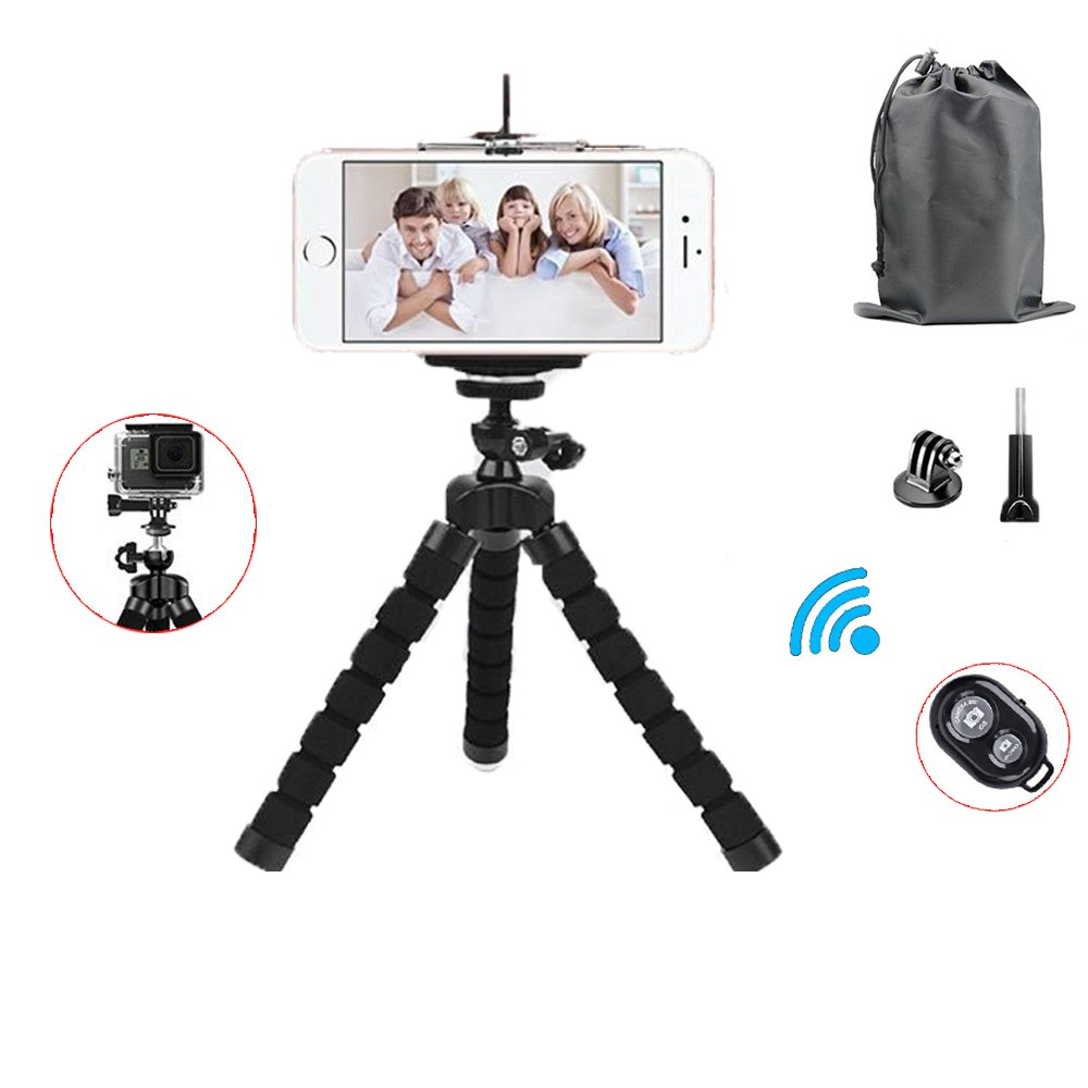 Adjustable Camera Phone Stand Mini Octopus Tripod with Universal Phone Bluetooth Remote Shutter and Clip for iPhone, Android Phone, Camera, Sports Camera GoPro Accessories