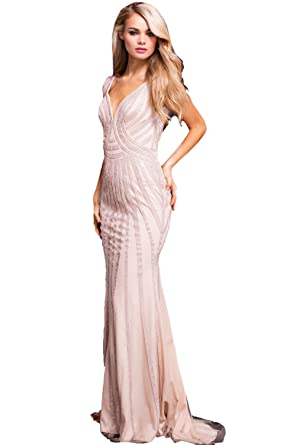 Jovani Prom 2018 Dress Evening Gown Authentic 55926 Long Champagne