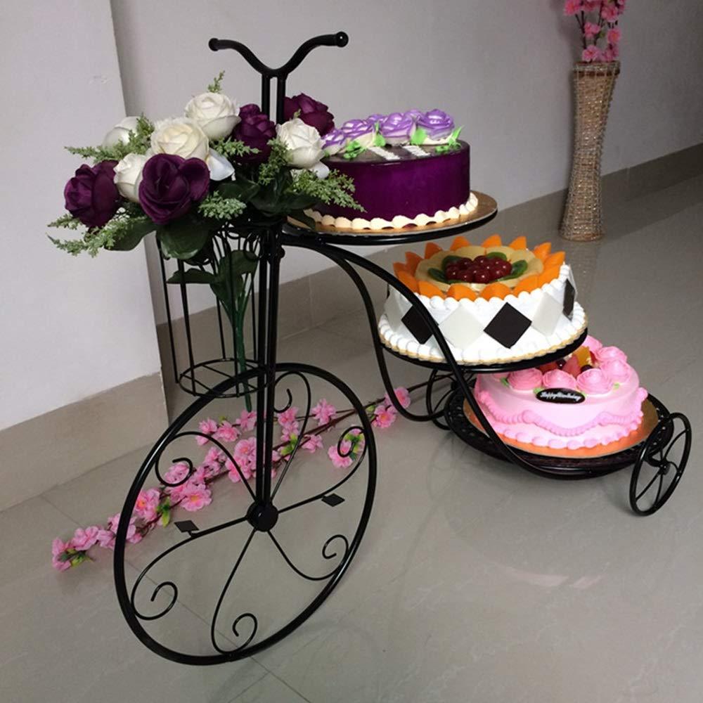 estante de pastel de hierro forjado creativo de tres capas bicicleta Estante de flores de m/últiples capas cumplea/ños fiesta de bodas postre soporte de exhibici/ón plato de a Bandeja de fiesta en capas