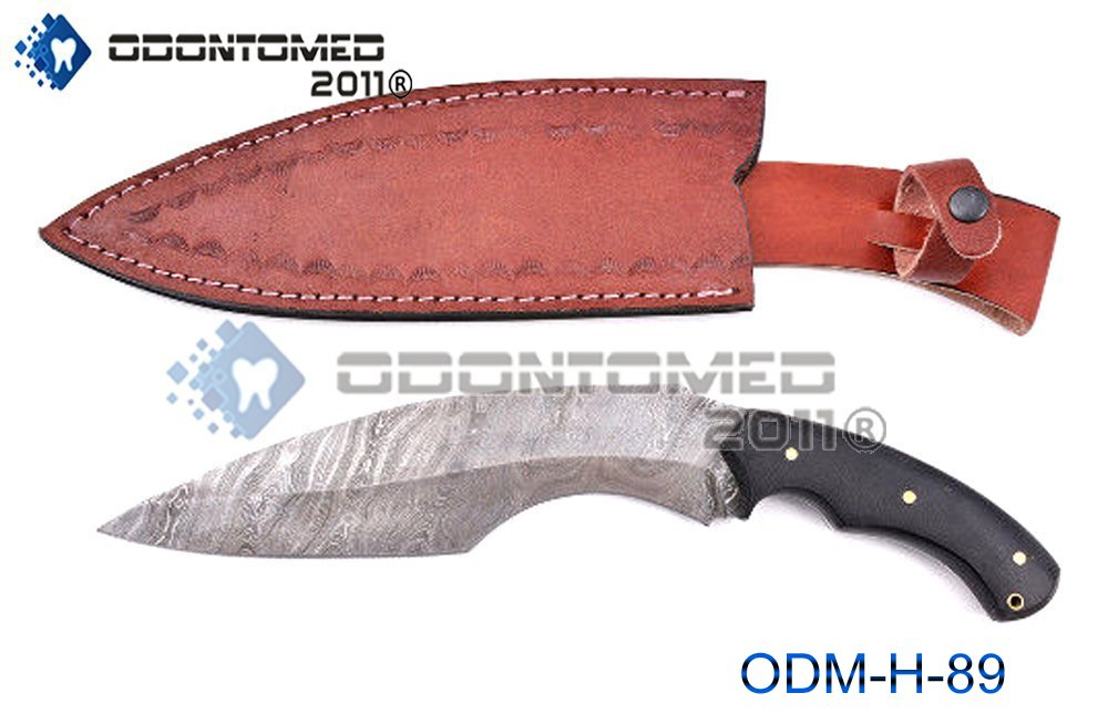 OdontoMed2011 Beautiful Custom Handmade Damascus Steel 12.3 Inches Kukri Knife With Micarta Handle ODM-H-89