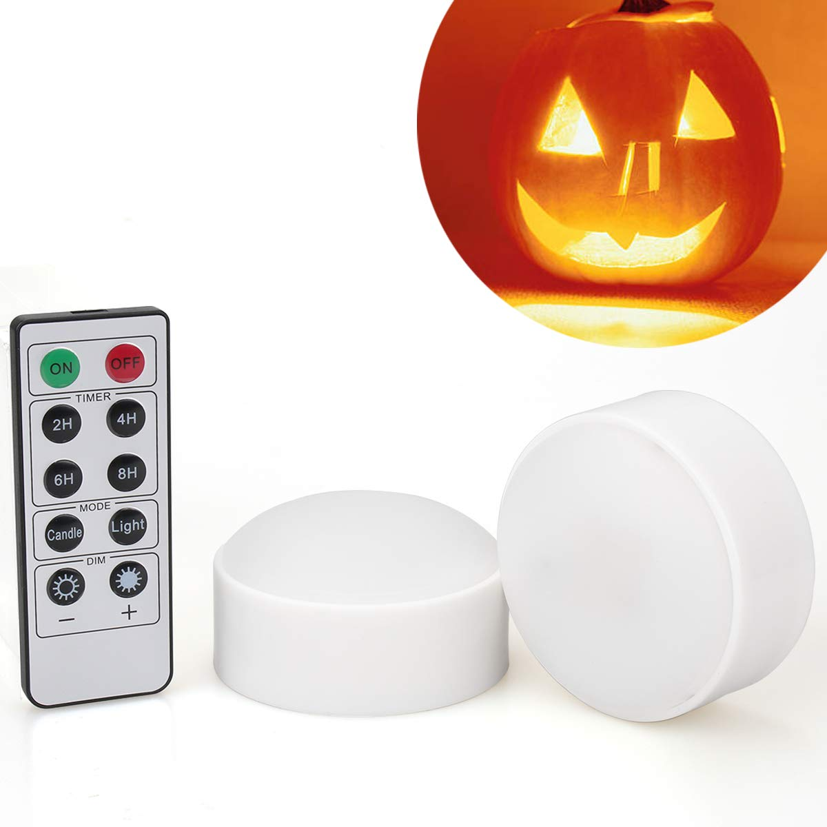 [2-Pack] Halloween LED Pumpkin Lights with Remote and Timer, Battery Operated Orange Jack-O-Lantern Light for Halloween Decor, Flameless Candles for Pumpkin by Luditek