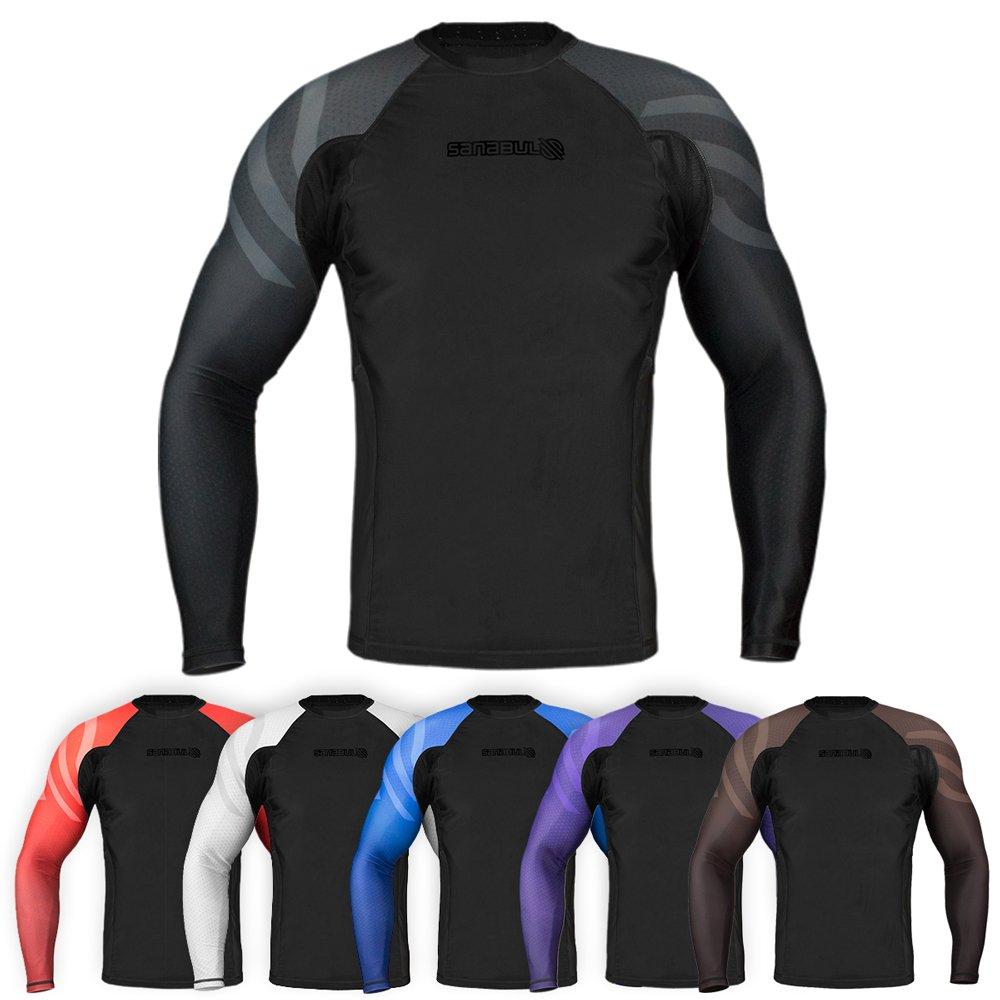 Sanabul Essentials Long Sleeve Compression Base Layer Rash Guard (Large, All Black)