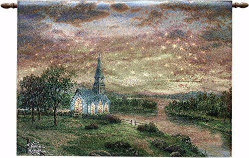 Manual Woodworker Wall Hanging-Sunrise Chapel-Fiber Optic Tapestry w/Remote (36 x 26)