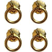 4 stuks Antiek Messing Ring Trekt Handvat Keukenkasten Garderobe Lade Vintage Meubels Hardware Vintage Stijl Trekt (Goud…
