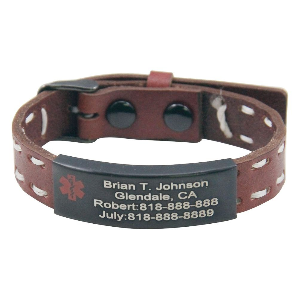 ForeverGiftsusa Personalized Free Engraving Quality Genuine Leather Medical Alert ID Bracelet