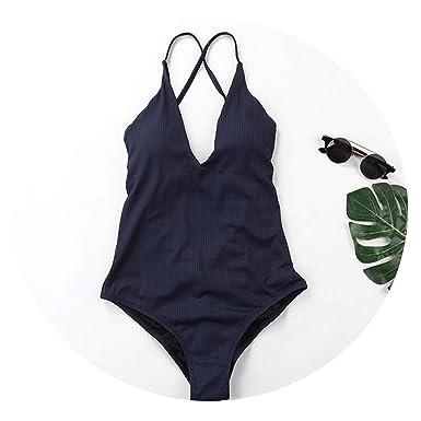 79bb99c4870 sensitives Woman Sexy Yellow One Piece Swimsuit 2019 Stripe Bathing Suit  for Women,Blue,