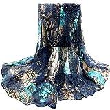 Bohemian Beach Voile Soft Long Women Flowers Printed Wrap Stole,Blue