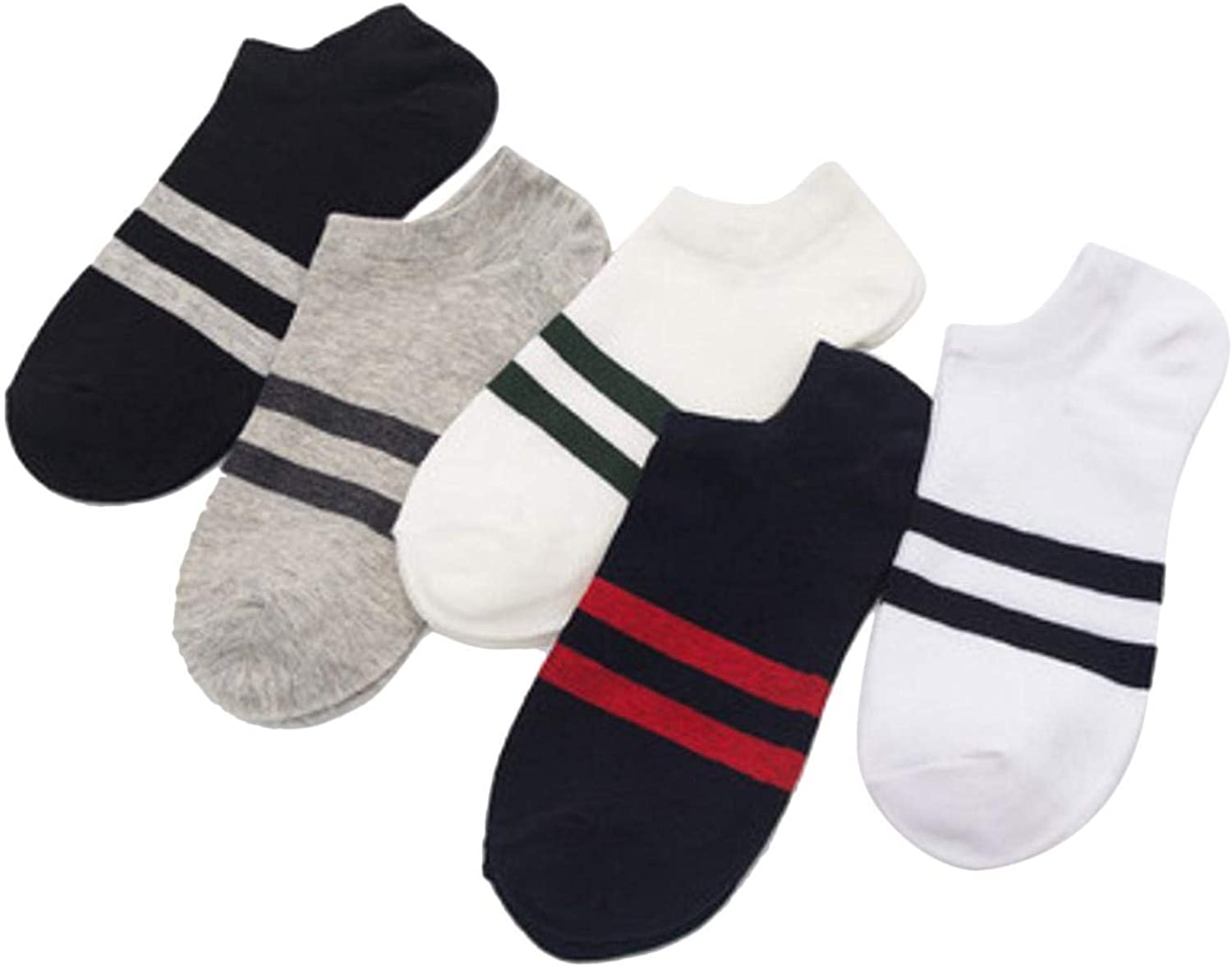 Lationay 5 Pairs Men Boys Casual Non Slip Breathable Comfortable Invisible Boat Casual Socks