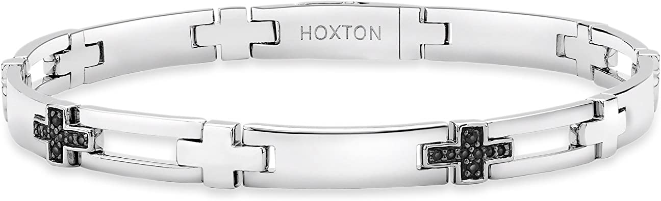 Hoxton London Herren Sterling Silber schwarzer Sapphir