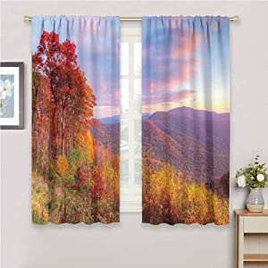 All Season Insulation Mountain Sunrise Stunning Sky Colors Autumn Falls at South Western Village Scenery Print Living Room Decor Blackout Shades W72 x L72 Inch Orange Blue Green