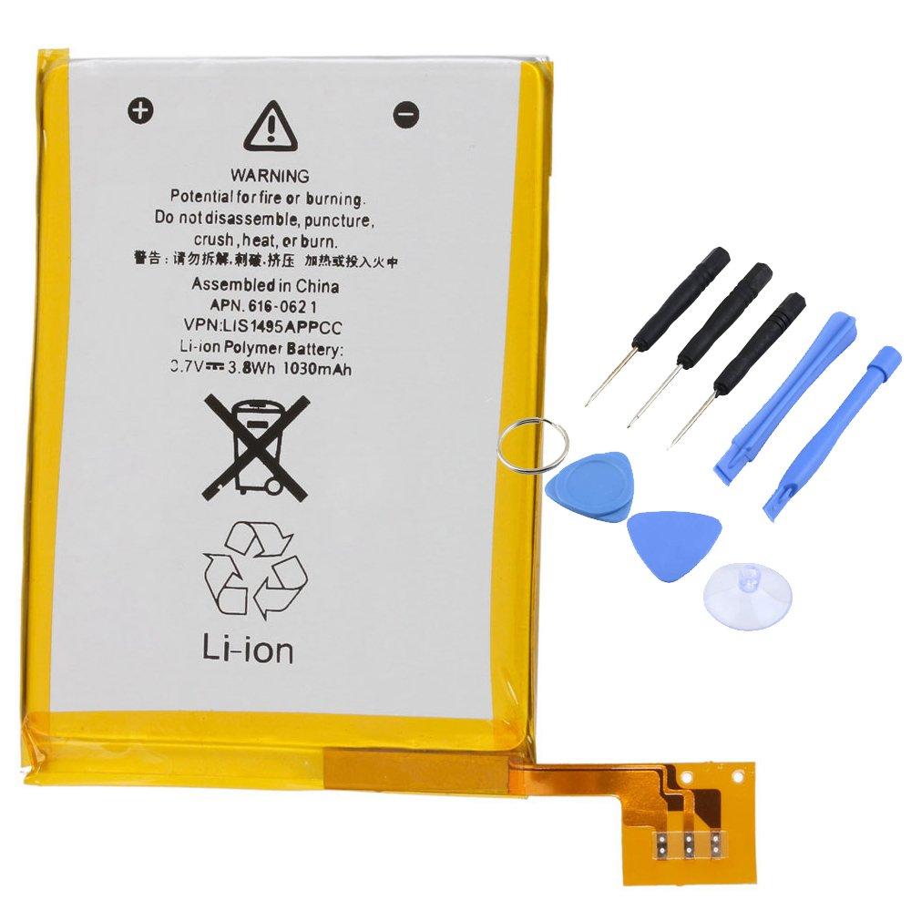 A1Pc Li-Polymer Battery 1030mAh 3.7V for iPod Touch 5th Gen with Repair Tools A1 Parts Canada
