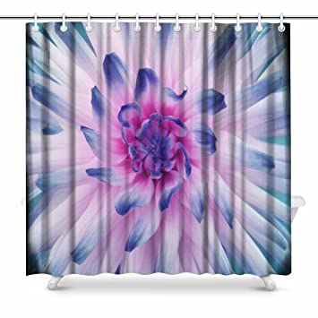 InterestPrint Dahlia Flower White Pink Blue Bathroom Accessories Shower Curtain With Hooks 72 Inches