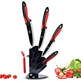 MYVIT Ceramic Knives Black Blade with Sheaths 5 Pieces with Color Handle 3 Inch 4 Inch 5 Inch 6 Inch Ceramic Knife and Peeler and Holder (Black & Red)