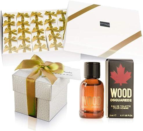 Pack 25 mini perfumes para hombre como detalles de boda para invitados Dsquared2 Wood Eau de toilette 5 ml. original: Amazon.es: Hogar