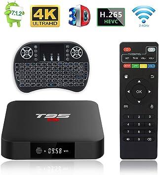 Android TV Box, T95 S1 TV Box 2GB RAM/16GB ROM Android 7.1 Amlogic S905W Quad Core Soporte 2.4GHz WiFi H.265 4K HDMI DLNA Reproductor Multimedia con Mini Teclado Inalámbrico: Amazon.es: Electrónica