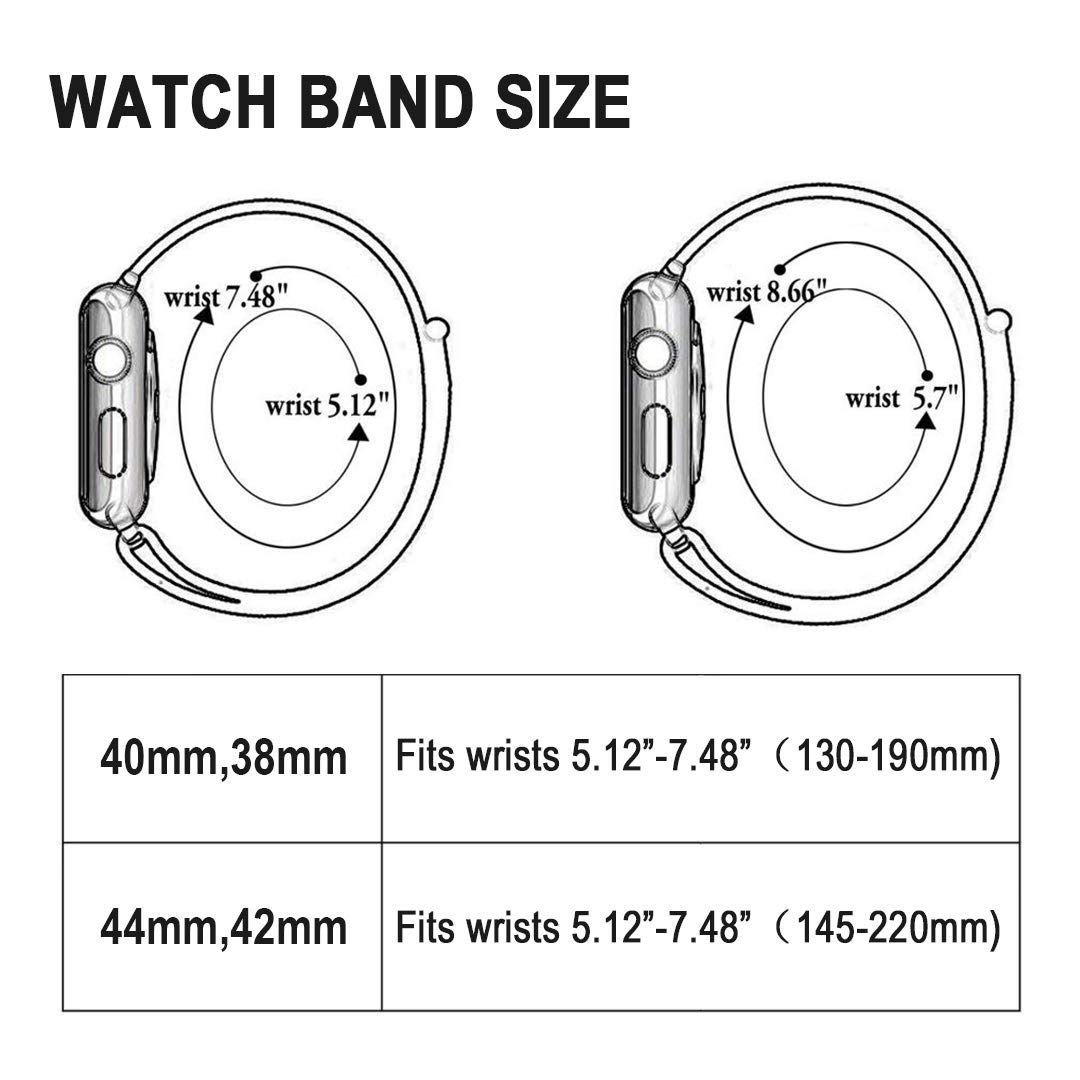AdMaster Compatible for Apple Watch Band 38mm 40mm, Soft Nylon Sport Loop Replacement Wristband Compatible iWatch Apple Watch Series 4/3/2/1 Pink Sand by AdMaster (Image #6)