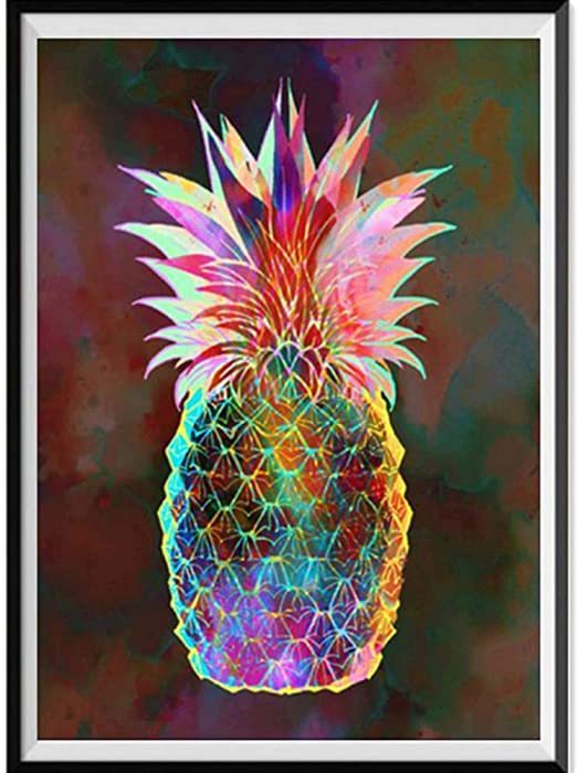Amazon Com 5d Diamond Painting Rhinestone Glass Artwork Pineapple
