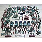 Ensunpal 307 Pcs/Set Army Soldier Toy Kits, World War II Soldiers Toy Set with Hand Bag Plastic Solider Figures Grenade Tank Aircraft Rocket Army Men Sand Scene Model