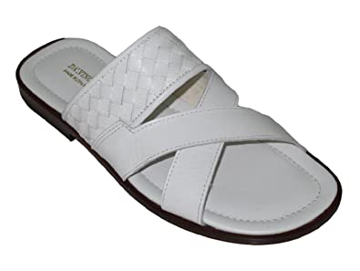 Davinci 1643 Italian Leather Open Toe Slide woven Detail Sandal Black/Black Size48White/White Size 45