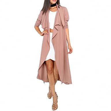 SheIn Autumn Womens New Fashion Coffee Lapel Long Sleeve Trench Coat Ladies Open Front Tie Waist