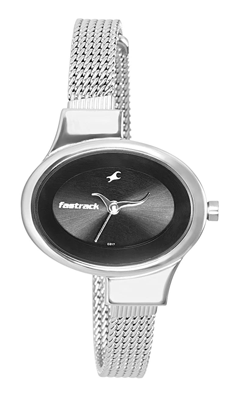 Fastrack Women s Fashion-Casual Analog Watch-Quartz Mineral Dial – Leather Silver Metal Strap