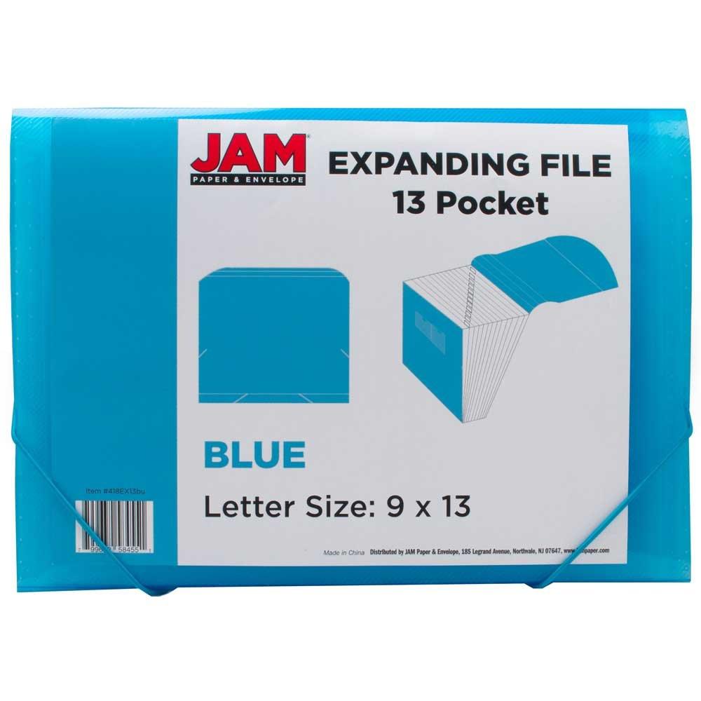 JAM Paper Plastic Accordion Folders - 13 Pocket Expanding File with Elastic Closure - Letter (9'' x 13'') - Blue - 24/pack