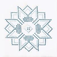 Jack Dempsey 733 54 Cross-Stitch Stamped White Quilt Blocks 9-Inch X 9-Inch 12/Package-XX Stars