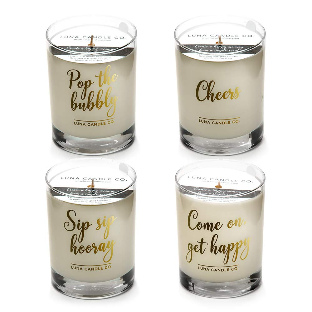 Luna Candle Co. Let's Get Lit - Peach Bellini and Vanilla Scented Luxurious Candles - 11 Oz (4 Candle Set) by Unknown