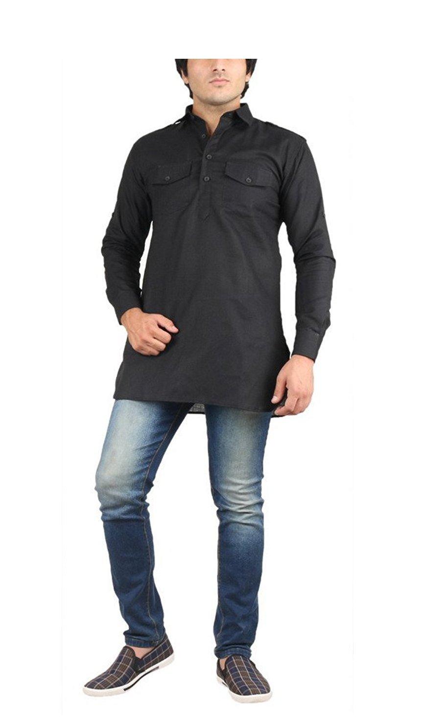 Royal Kurta Men's Fine Cotton Short Pathani Kurta For Denims 38 Black