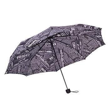 cuzit Creative periódico toldo 3 plegable moda sombrilla sol protección Anti-UV paraguas para girl