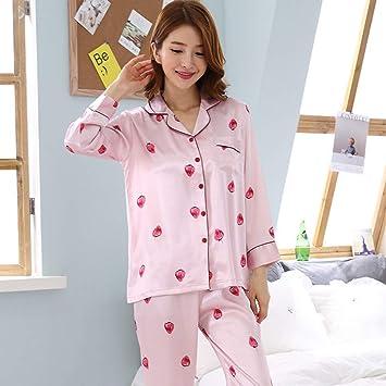 Loveni Conjunto De Pijamas De Seda para Mujer Conjunto De Seda para Mujer Rosa Uso Informal