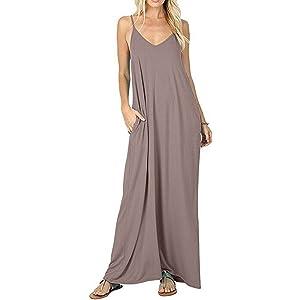 674165513892 Women's Casual Plain V-Neck Loose Beach Cover-Up Long Maxi Cami Dress  Pockets