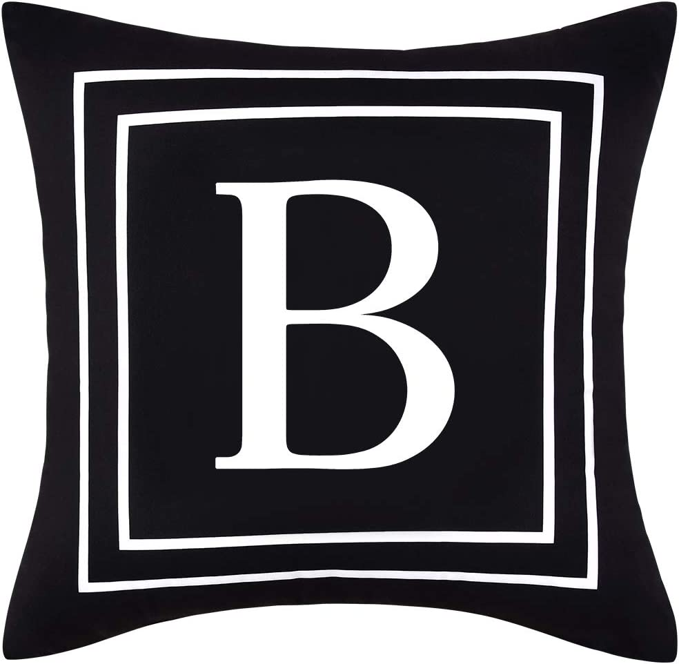 Yastouay Pillow Covers English Alphabet B Throw Pillow Cover Black Throw Pillow Case Modern Cushion Cover for Sofa Bedroom Chair Couch Car (Black, 18 x 18 Inch)