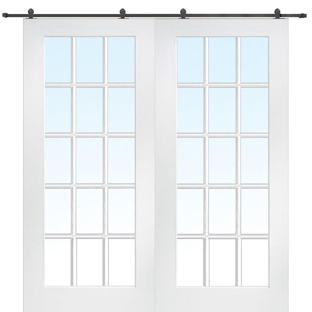 National Door Company Z009628 Primed MDF 15 Lite True Divided Clear Glass 72'' x 80'', Barn Door Unit