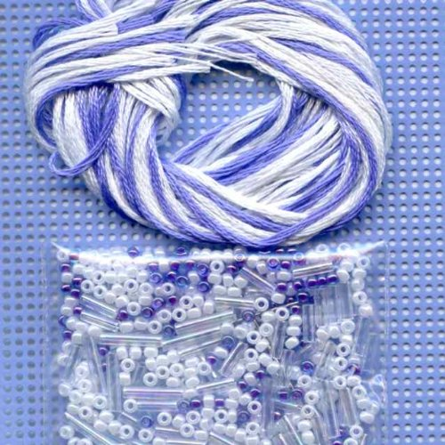 Amethyst Crystal Beaded Counted Cross Stitch Ornament Kit Mill Hill 2012 Snow Crystals MH162303