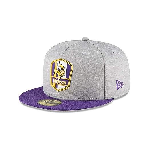 Amazon.com  New Era Minnesota Vikings NFL Sideline 18 Road On Field Cap  59fifty Fitted OTC  Clothing 675a73d3482f