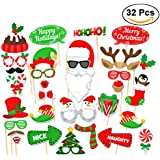Tinksky Christmas Party Photo Booth Props Creative Happy Christmas Pose Sign Kit for Party Decoration 32pcs/set