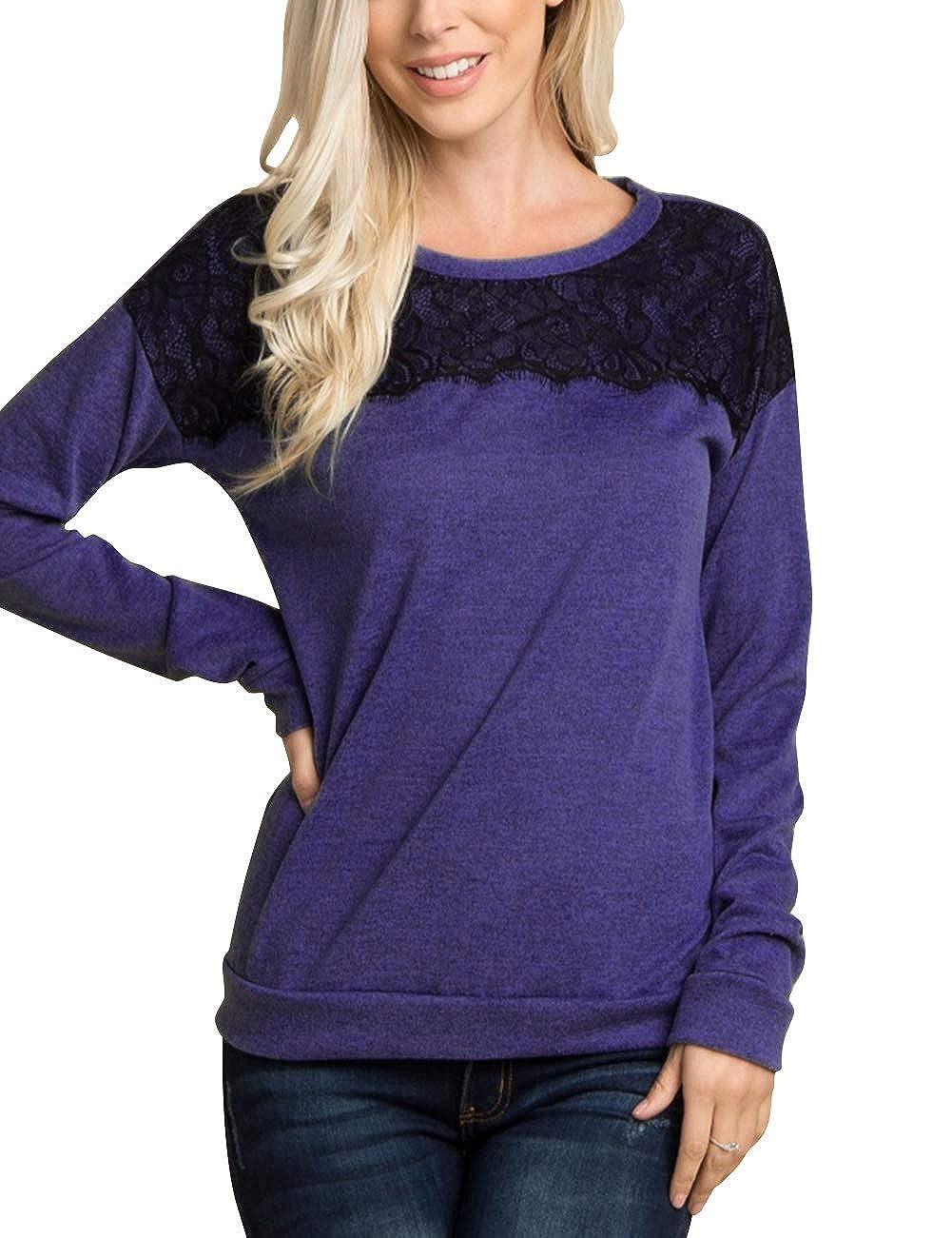 7fac67d59c JOYMODE Women s Long Sleeve Tunic Sweater Tops Round Neck Lace Front Tunic  Shirts Pullover Sweatshirt at Amazon Women s Clothing store