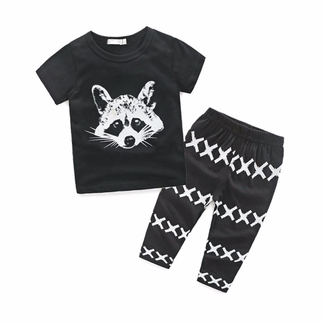 Fartido Newborn Baby Boys' Summer Coon Print T-Shirt Tops & Stripe X Pants