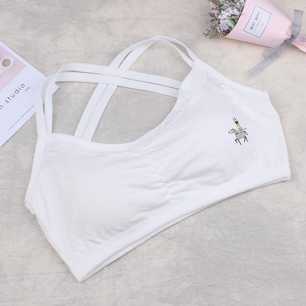 Lanhui Puberty Girls Underwear Foam Bra Vest Underclothes Lovely Print Sport Undies Free Size, Gray