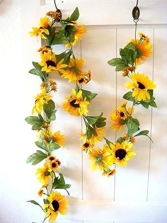 Amazon De Sonnenblumengirlande Sonnenblume Blume Blattergirlande