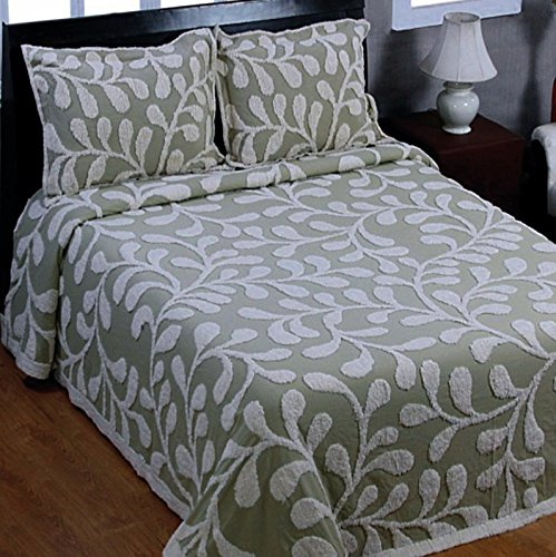 Best Review Of Sage Vine Pattern Full Size Chenille Bedspread - Clearance Sale