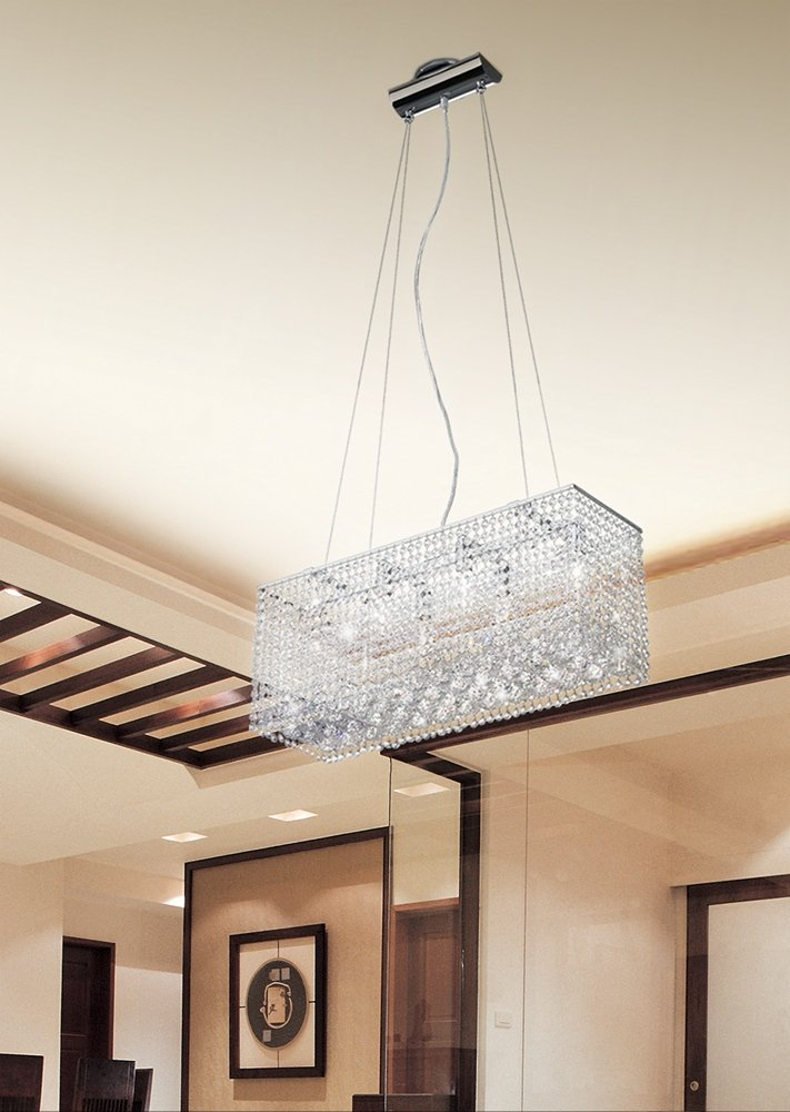 Moooni Modern Crystal Chandelier Lighting Wave Dining Room Ceiling Light Fixture L31.5 x W11.8 x H27.6