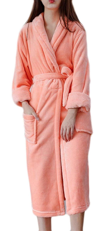 Saoye Fashion Damen Luxus Flanell Pyjama Weichen Warmen Dusche Robe Kleidung Erwachsene Schalkragen Freizeit Bade Männermode Einfache Orange Kleid Bademantel