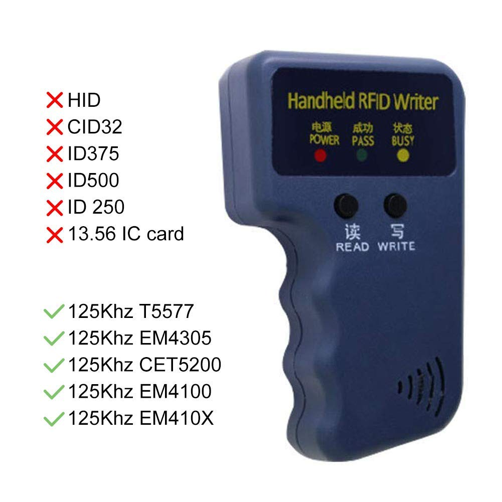 Amazon.com: 125KHz RFID Readers/Writer/Copier/Duplicator Handheld ID Card Writer + 6pcs Writable ID Cards and 6pcs ID Tags: Computers & Accessories