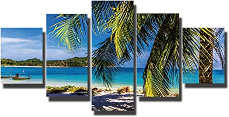 5 Pcs Set Hawaii Beach Hd Canvas Print Home Decor Wall Art Oil Paintings On Canvas Beautiful Picture No Framed Posters Prints