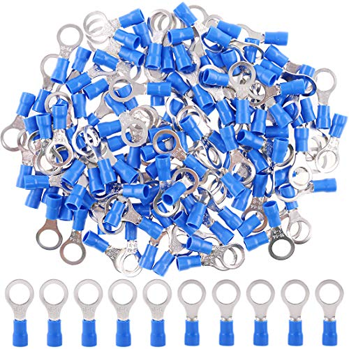 Hilitchi 100Pcs 16-14AWG Insulated Terminals Ring Electrical Wire Crimp Connectors (Blue, M8) ()