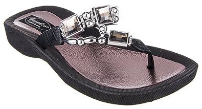 b9f061593 Grandco Womens VVS1 Thong Black Sandal 5 M US