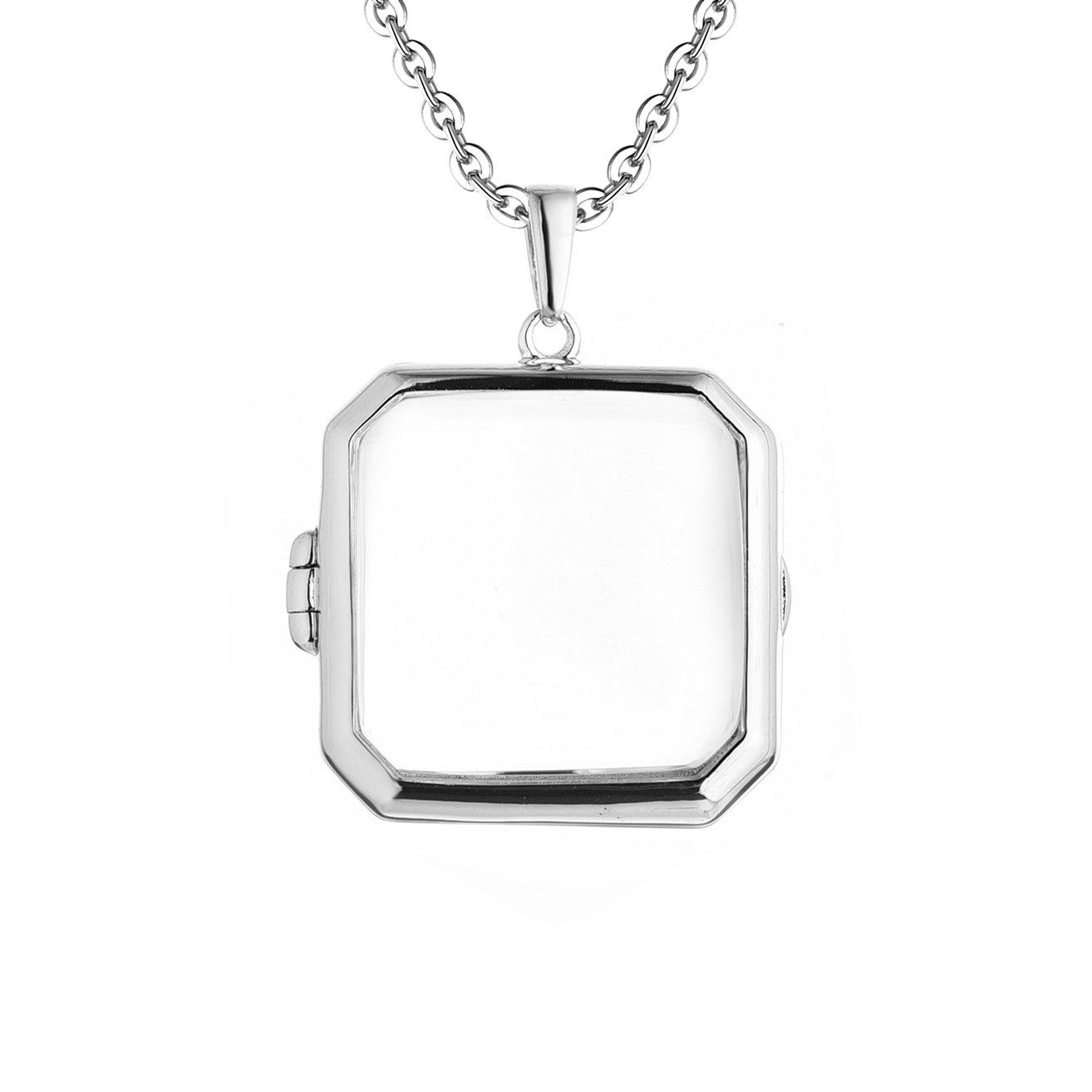 Sterling Silver-Square Custom Photo Locket Necklace-36-inch chain-The Billie by With You Lockets