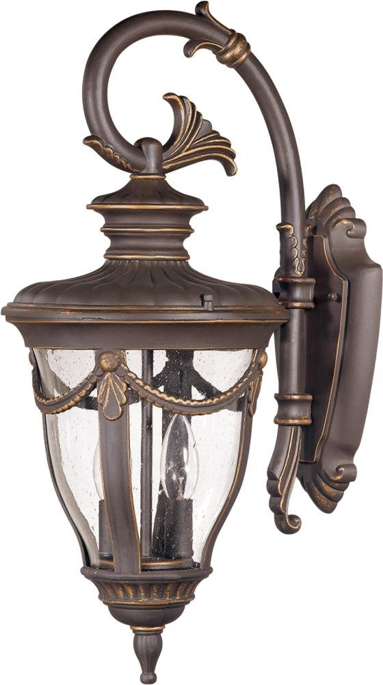 Nuvo 60/2044 Arm Down, Wall Lantern with Clear Seeded Glass, Mid-Size by Nuvo